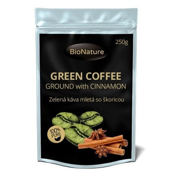 BioNature Zelená káva mletá 250g se skořicí