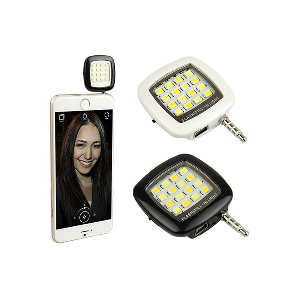 Externí LED blesk na mobil, Černá